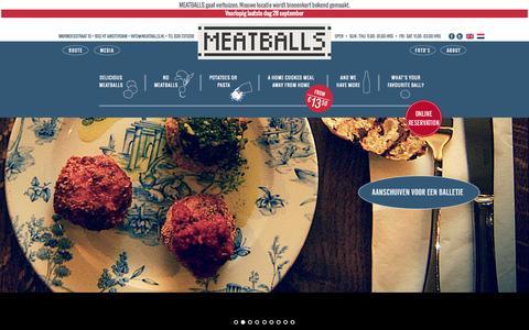 Screenshot of Home Page meatballs.nl - Gehaktballen Restaurant   MEATBALLS Amsterdam - captured Sept. 30, 2014