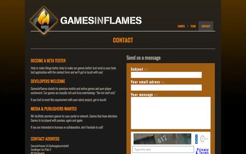 Screenshot of Contact Page gamesinflames.com - Contact | Games In Flames - captured Sept. 29, 2014