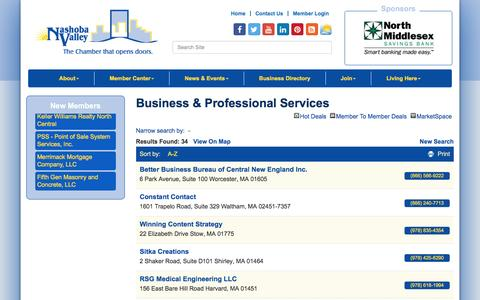 Screenshot of Services Page nvcoc.com - Business & Professional Services - Nashoba Valley Chamber of Commerce, MA - captured Dec. 6, 2016