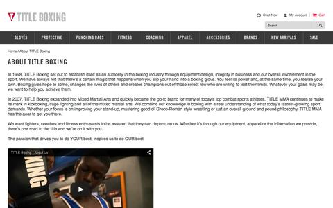 Screenshot of About Page titleboxing.com - About TITLE Boxing | TITLE Boxing Gear - captured Jan. 19, 2016