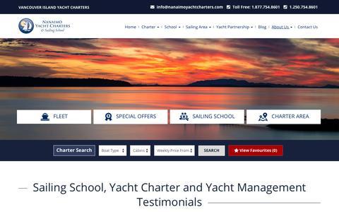 Screenshot of Testimonials Page nanaimoyachtcharters.com - Sailing School, Yacht Charter and Yacht Management Testimonials - captured Sept. 23, 2018