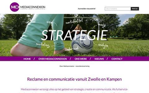 Screenshot of Home Page mediaconnexion.nl - Strategie, creatie, communicatie: reclamebureau Mediaconnexion Zwolle Kampen | Full service reclamebureau - captured Sept. 30, 2014