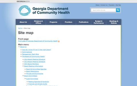 Screenshot of Site Map Page georgia.gov - Site map | Georgia Department  of Community Health - captured Sept. 18, 2014