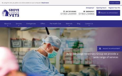 Screenshot of Services Page grovelodgevets.co.uk - Our Services - Grove Lodge Vets - captured Sept. 30, 2018