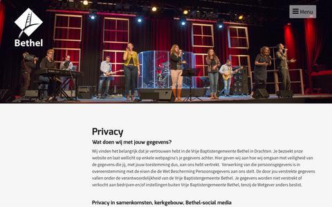 Screenshot of Privacy Page bethel.nl - Privacy - Bethel - captured Nov. 30, 2016