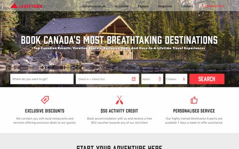 Screenshot of Home Page leavetown.com - Leavetown Vacation Rentals | Canada Travel Accommodations - captured April 13, 2017