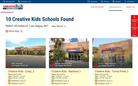 Screenshot of Locations Page creativekidslearningcenter.com - Find a School Near You   Creative Kids Learning Center - captured July 23, 2018