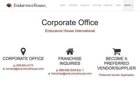 Screenshot of Contact Page endurancehouse.com - Store Locator | Endurance House - captured July 14, 2016