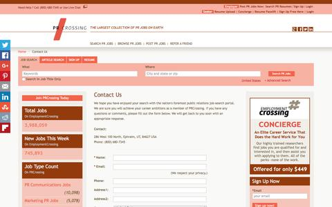 Screenshot of Contact Page prcrossing.com - Contact Us - Contact Customer Service Team By Email | PRCrossing.com - captured July 9, 2016