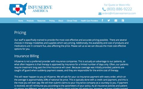 Screenshot of Pricing Page infuserveamerica.com - Pricing | Infuserve America - captured Sept. 30, 2014