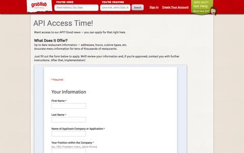 Screenshot of Developers Page grubhub.com - Developers | GrubHub - captured Sept. 16, 2014