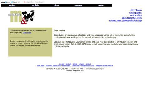Screenshot of Case Studies Page machinesandwords.com captured Oct. 3, 2014