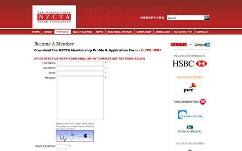 Screenshot of Signup Page nzcta.co.nz - Become A Member   New Zealand China Trade Association - captured Oct. 26, 2014