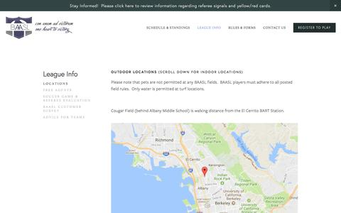 Screenshot of Locations Page baasl.org - Locations — Bay Area Adult Soccer League - captured Oct. 10, 2017