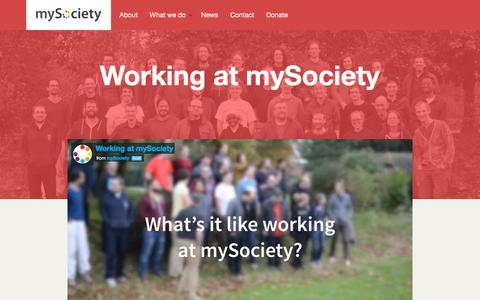 Screenshot of Jobs Page mysociety.org - Working at mySociety / mySociety - captured Dec. 3, 2015