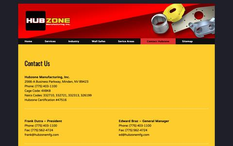 Screenshot of Contact Page hubzonemfg.com - Contact Hubzone Manufactoring Inc. - captured Sept. 30, 2018