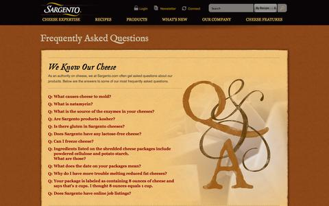 Screenshot of FAQ Page sargento.com - Frequently Asked Questions | Sargento® Natural Cheese - captured Oct. 4, 2014