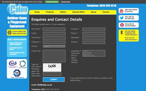 Screenshot of Contact Page caloo.co.uk - Outdoor Playground, Fitness, Gym Equipment | Price, Cost and Enquiries - captured Sept. 27, 2014