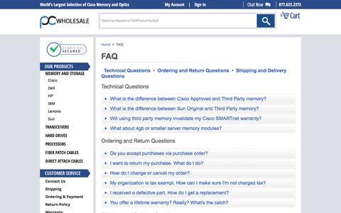 Screenshot of FAQ Page pc-wholesale.com - FAQ - captured May 12, 2017