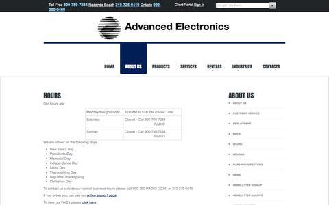 Screenshot of Hours Page advancedelectronics.com - Hours Motorola Two-Way Radio Dealer Los Angeles California Advanced Electronics Inc - captured Oct. 4, 2014