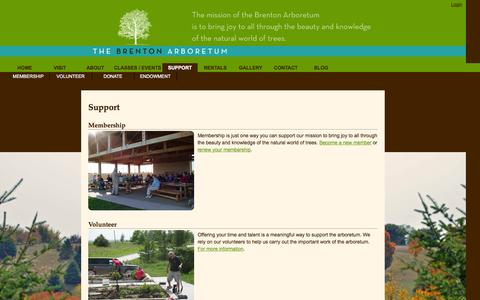 Screenshot of Support Page thebrentonarboretum.org - TheBrentonArboretum.org - captured Oct. 26, 2014