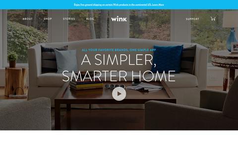 Screenshot of Home Page wink.com - Wink | A Simpler, Smarter Home - captured Feb. 3, 2017