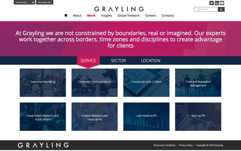 Screenshot of Services Page grayling.com - Grayling | Our strategic services and sector experience - captured April 28, 2018