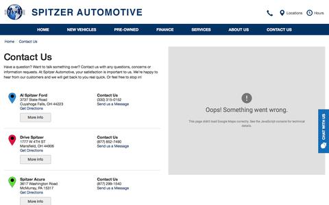 Screenshot of Contact Page Locations Page Hours Page spitzer.com - Contact Spitzer Automotive in - captured Oct. 23, 2017