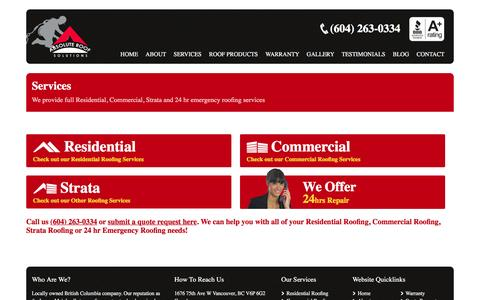 Screenshot of Services Page absoluteroof.ca - Roof Replacement, Repair and Maintenance Services | Absolute Roof Solutions - captured Feb. 5, 2016