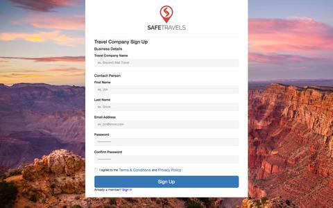 Screenshot of Signup Page safetravels.com - Sign Up to SafeTravels - captured Dec. 17, 2015