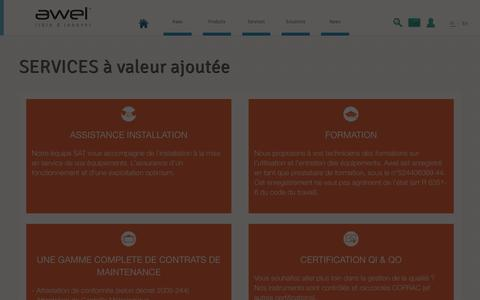Screenshot of Services Page awelinnovations.com - SERVICES à valeur ajoutée - awel - libre d'innover - captured Oct. 4, 2014