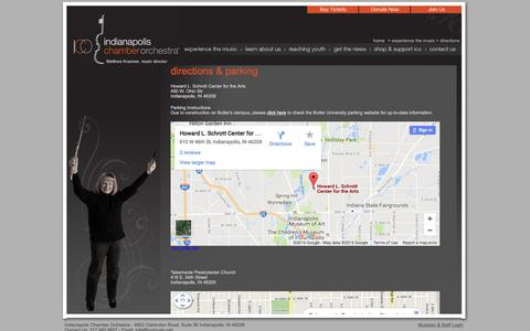 Screenshot of Maps & Directions Page icomusic.org - ICO - Indianapolis Chamber Orchestra - captured Nov. 26, 2016