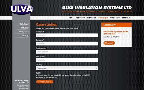 Screenshot of Case Studies Page ulva.co.uk - ULVA Insulation Systems Ltd - Case Studies - captured Nov. 2, 2014