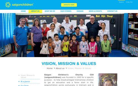 Screenshot of About Page saigonchildren.com - Vision, Mission & Values - Saigon Children's Charity CIO - captured Oct. 1, 2018