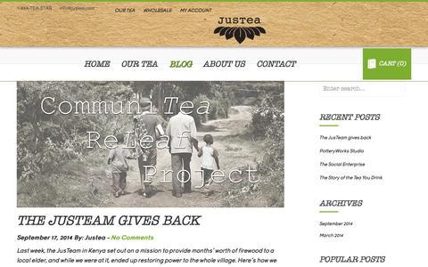 Screenshot of Blog justea.com - Karibu! (Welcome!) - captured Sept. 30, 2014