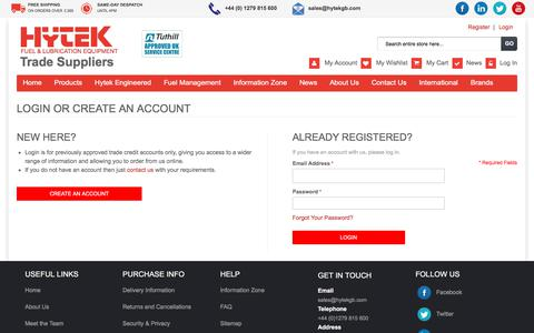 Screenshot of Login Page hytekgb.com - Customer Login - captured Sept. 20, 2017