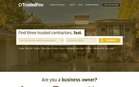 Screenshot of Home Page trustedfew.com - Trusted Few: Free Quotes From Local Home Contractors - captured Jan. 26, 2015