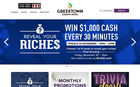 Screenshot of Home Page greektowncasino.com - Greektown Casino | Detroit's Gaming & Nightlife Destination - captured Nov. 11, 2018