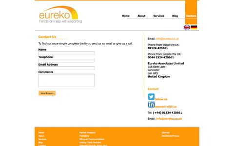 Screenshot of Contact Page eureko.co.uk - Contact | Eureko Associates Ltd - captured Oct. 28, 2014