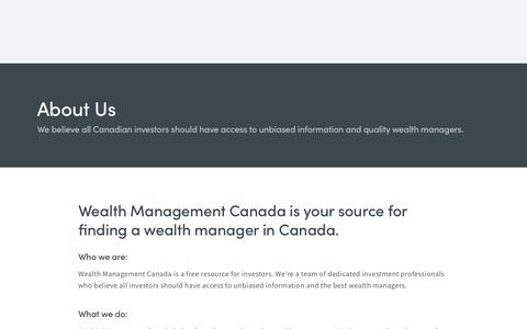 Screenshot of About Page wealthmanagementcanada.com - About Us | Wealth Management Canada - captured Oct. 20, 2018