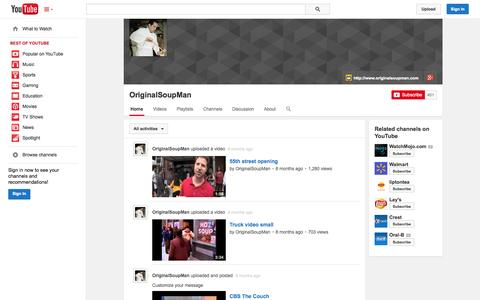 Screenshot of YouTube Page youtube.com - OriginalSoupMan  - YouTube - captured Oct. 22, 2014