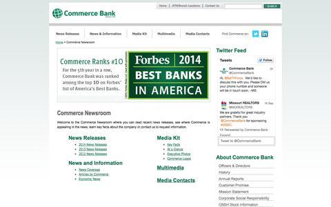 Screenshot of Press Page commercebank.com - Newsroom   Commerce Bank - captured Sept. 18, 2014