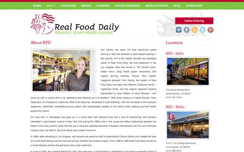 Screenshot of About Page realfood.com - About RFD | Real Food Daily - captured Nov. 2, 2014