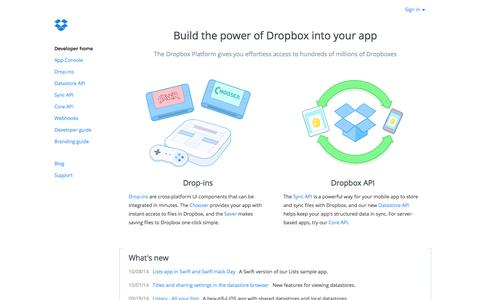 Screenshot of Developers Page dropbox.com - Dropbox - Developers - captured Oct. 10, 2014
