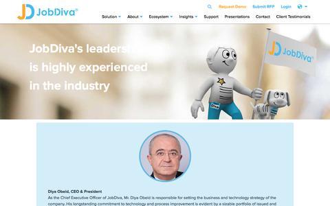 Screenshot of Team Page jobdiva.com - Leadership | JobDiva - captured Dec. 25, 2019