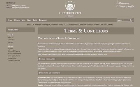 Screenshot of Terms Page thecrofthouse.com - Terms & Conditions  - The Croft House - captured Dec. 14, 2016