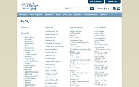 Screenshot of Site Map Page ahni.com - Site Map - captured Sept. 23, 2014