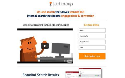 Screenshot of Landing Page sphereup.com - Beautiful Site Search - captured Oct. 27, 2014