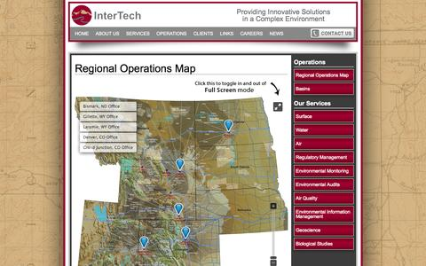 Screenshot of Maps & Directions Page intertechee.com - InterTech :: Regional Operations Map - captured Oct. 6, 2014