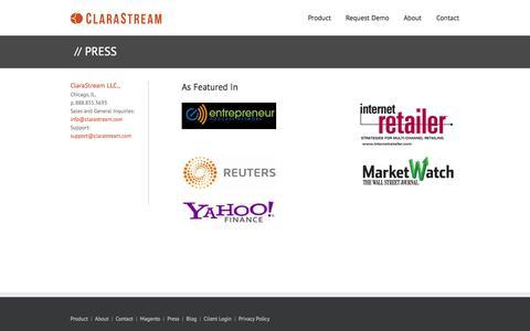 Screenshot of Press Page clarastream.com - Product Information Management Software   –  Press - captured Sept. 12, 2014